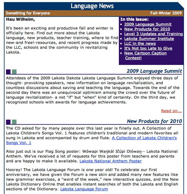 Lakota Language Consortium Newsletter Archive- Original